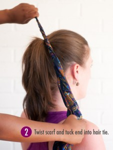 Step 2 of hair scarf bun