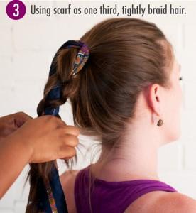 Step 3 scarf bun